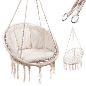 Huśtawka fotel bocianie gniazdo ecru XL z poduszką