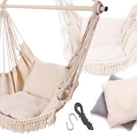Hamak brazylijski krzesło z poduszkami ecru frędzle