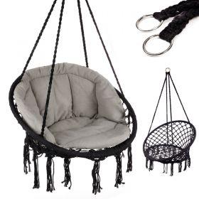 Huśtawka fotel bocianie gniazdo czarna XL z poduszką szarą