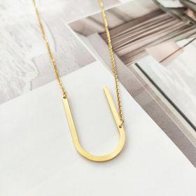 Naszyjnik stal chirurgiczna literka U platerowana złotem NST995U