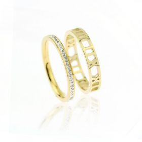 Pierścionek stal chirurgiczna platerowana złotem komplet PST609, Rozmiar pierścionków: US9 EU20