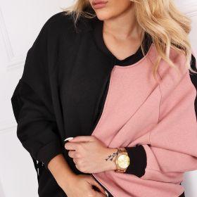 dwukolorowa bluza o oversize'owym kroju z lampasami na rękawach i nadrukiem na plecach