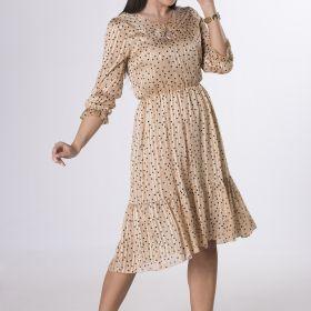 sukienka midi ze zlotą nitką